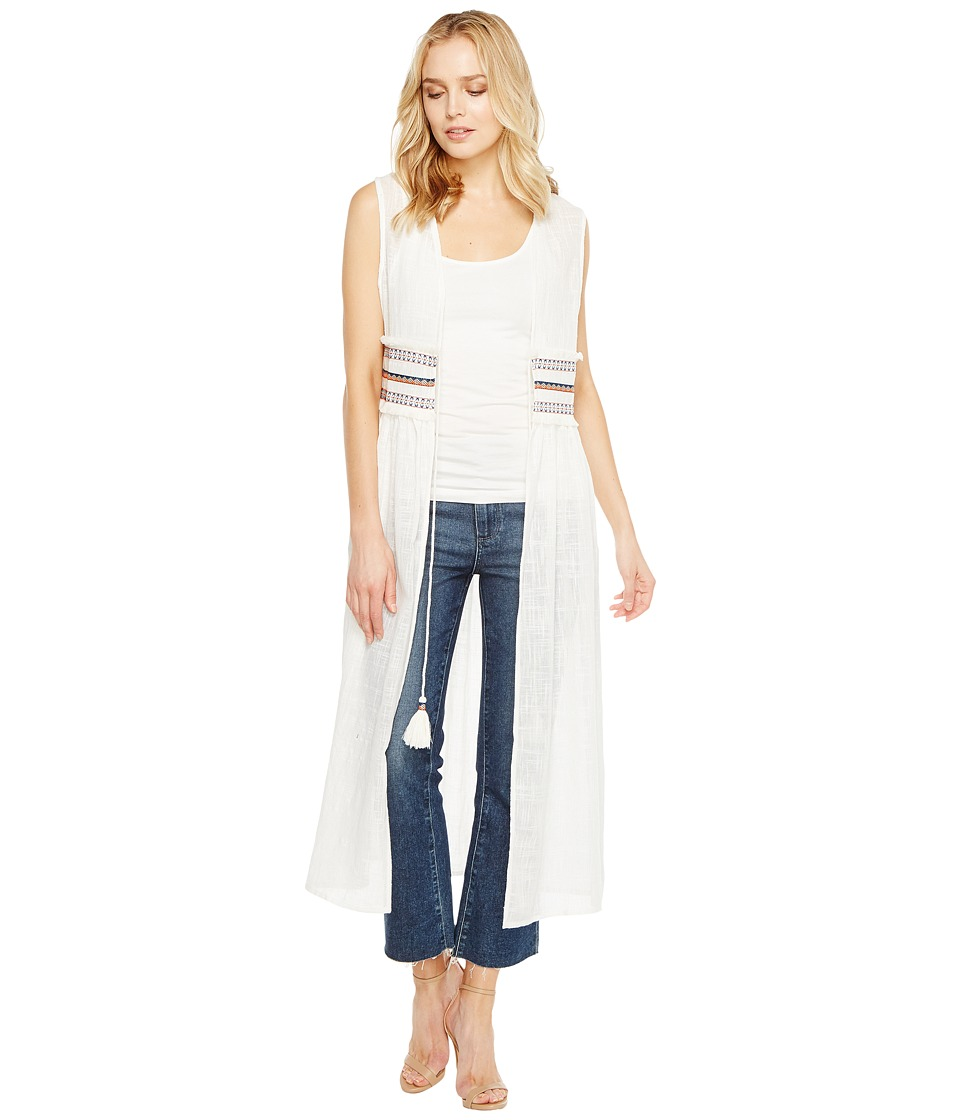 Steve Madden - Solid Tie Front Duster Vest w/ Trim Waist (White) Women's Clothing