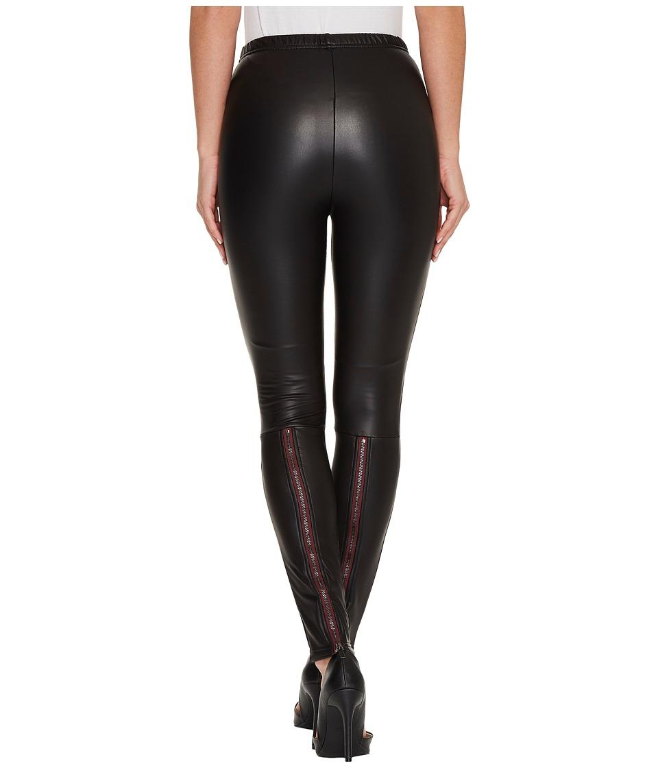 Plush Fleece-Lined Liquid Leggings with Contrast Zipper (Black) Women