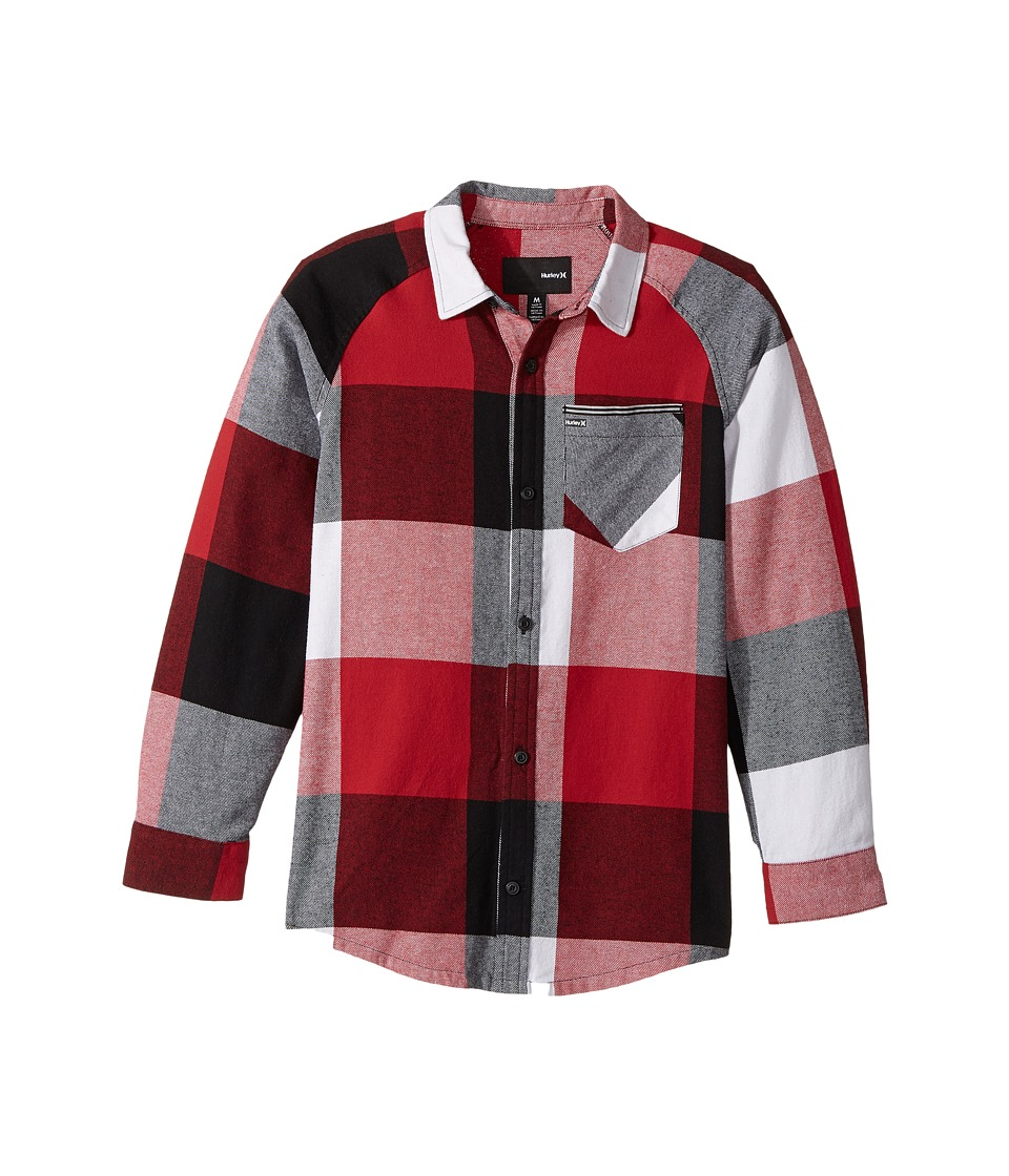 Hurley Kids - Flannel Long Sleeve Raglan Top (Big Kids) (Gym Red/Black) Boy's Clothing