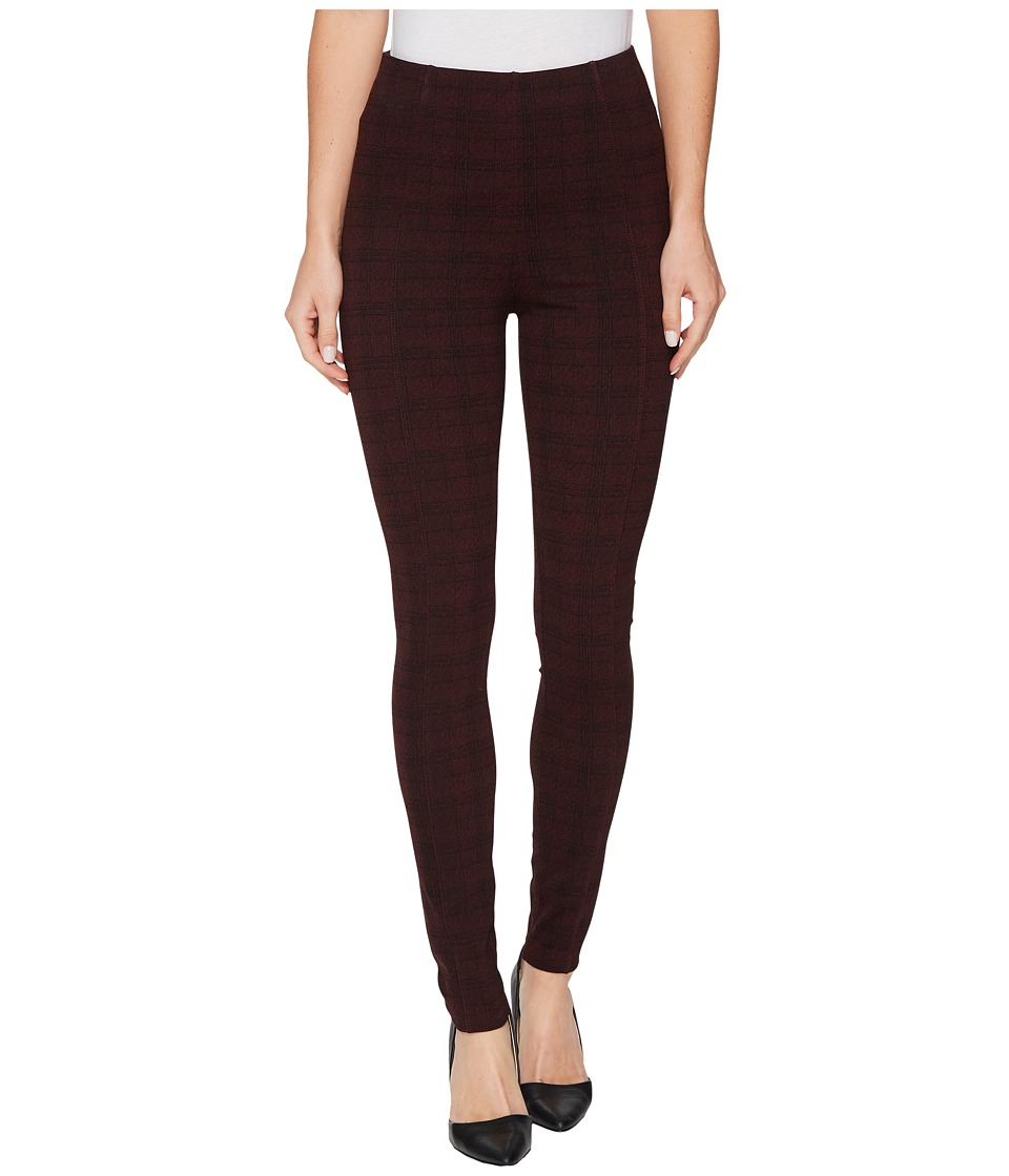 Liverpool Reese Ankle Leggings with Slimming Waist Panel in Texture Plaid Ponte Knit in Petite Syrah (Petite Syrah) Women