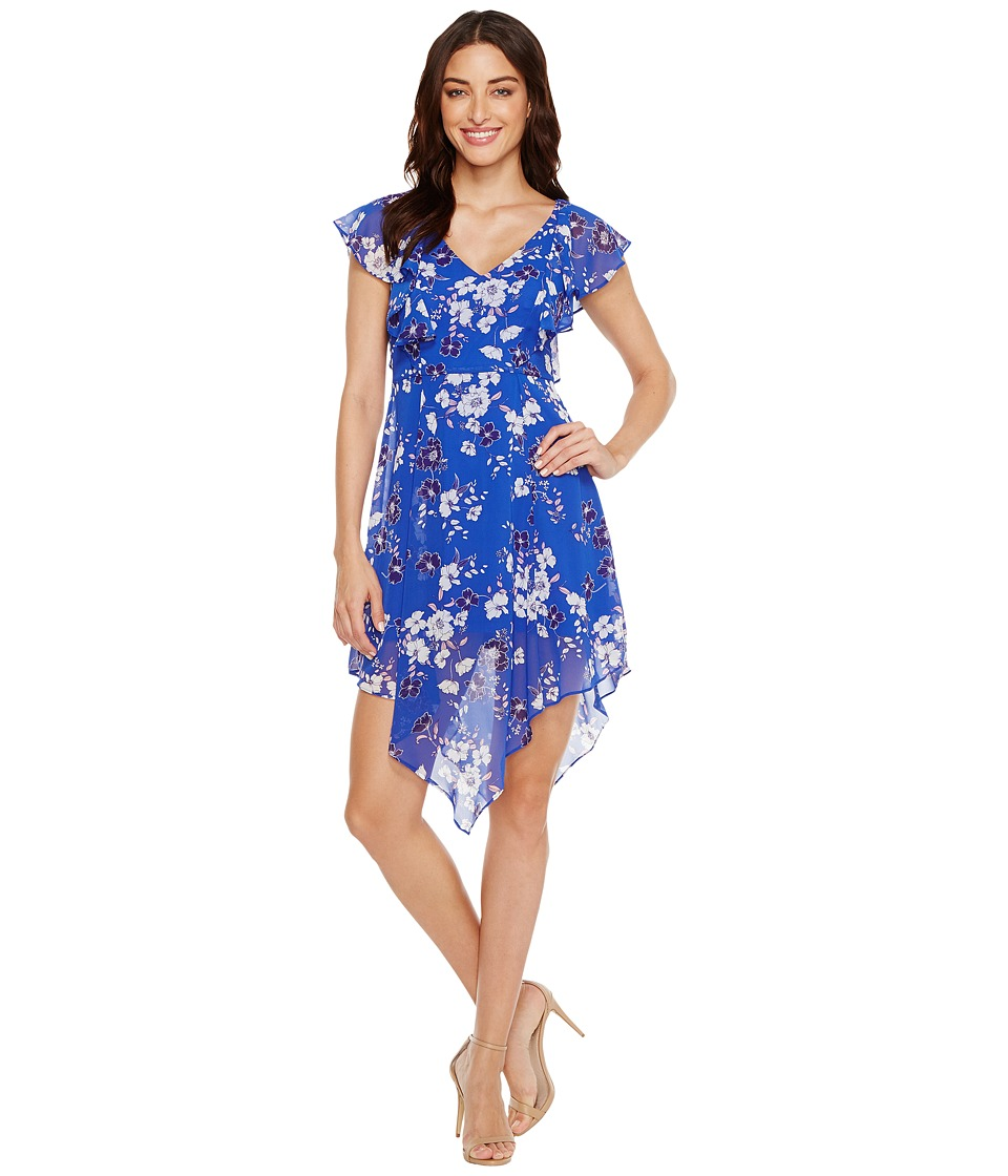 Jessica Simpson - Printed Ruffle Dress with Asymmetrical Hem JS7A9387 (Print) Women's Dress