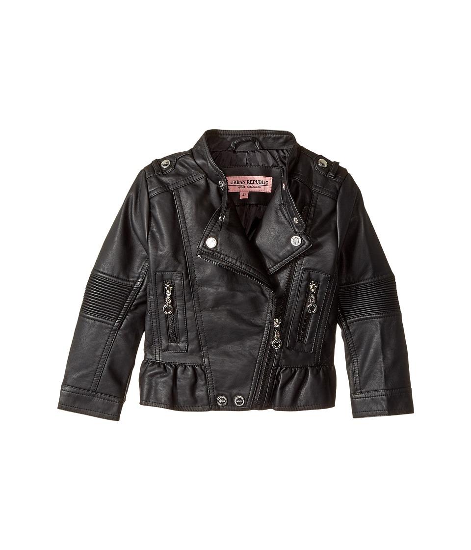 Urban Republic Kids - Faux Leather Moto with Peplum (Toddler) (Black) Girl's Coat