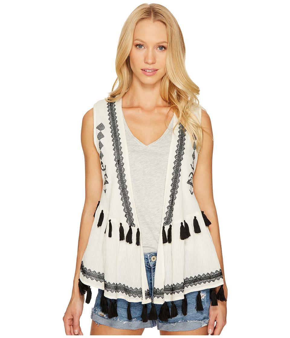 Steve Madden - Embroidered Cotton Peplum Vest (Black) Women's Clothing