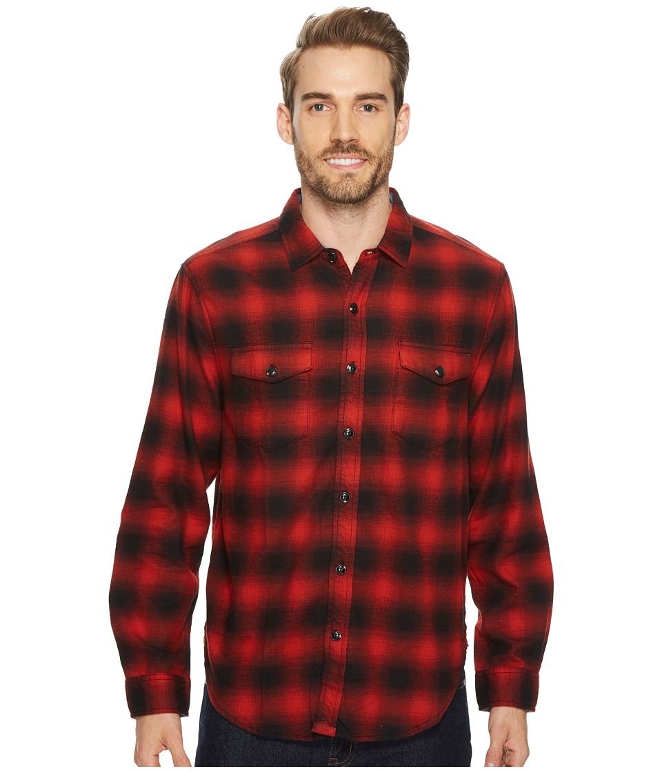 True Grit Redford Plaid Long Sleeve Two-Pocket Shirt with Chambray and Stitch Detail (Red) Men