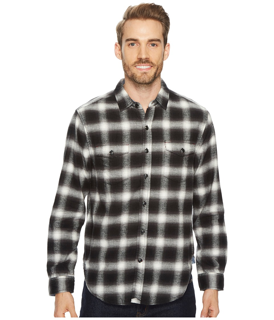 True Grit Redford Plaid Long Sleeve Two-Pocket Shirt with Chambray and Stitch Detail (Black) Men