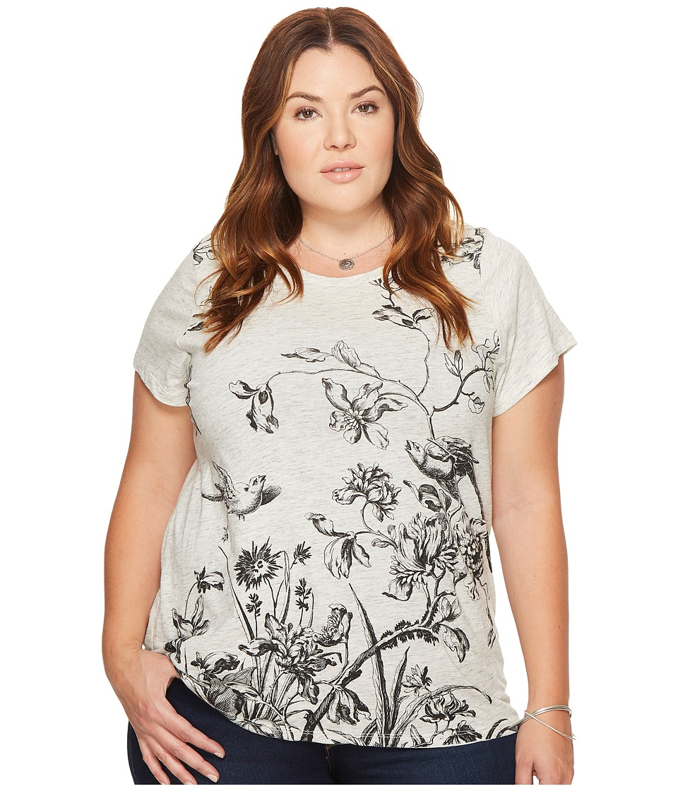 Lucky Brand - Plus Size Antique Floral Tee (Heather Grey) Women's T Shirt