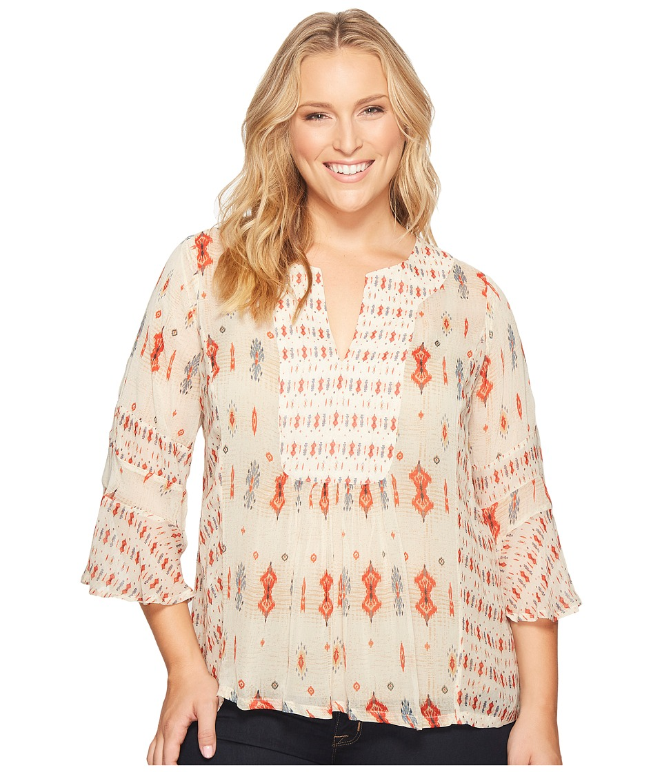 Lucky Brand - Plus Size Mix Print Boho Top (Natural Multi) Women's Long Sleeve Pullover