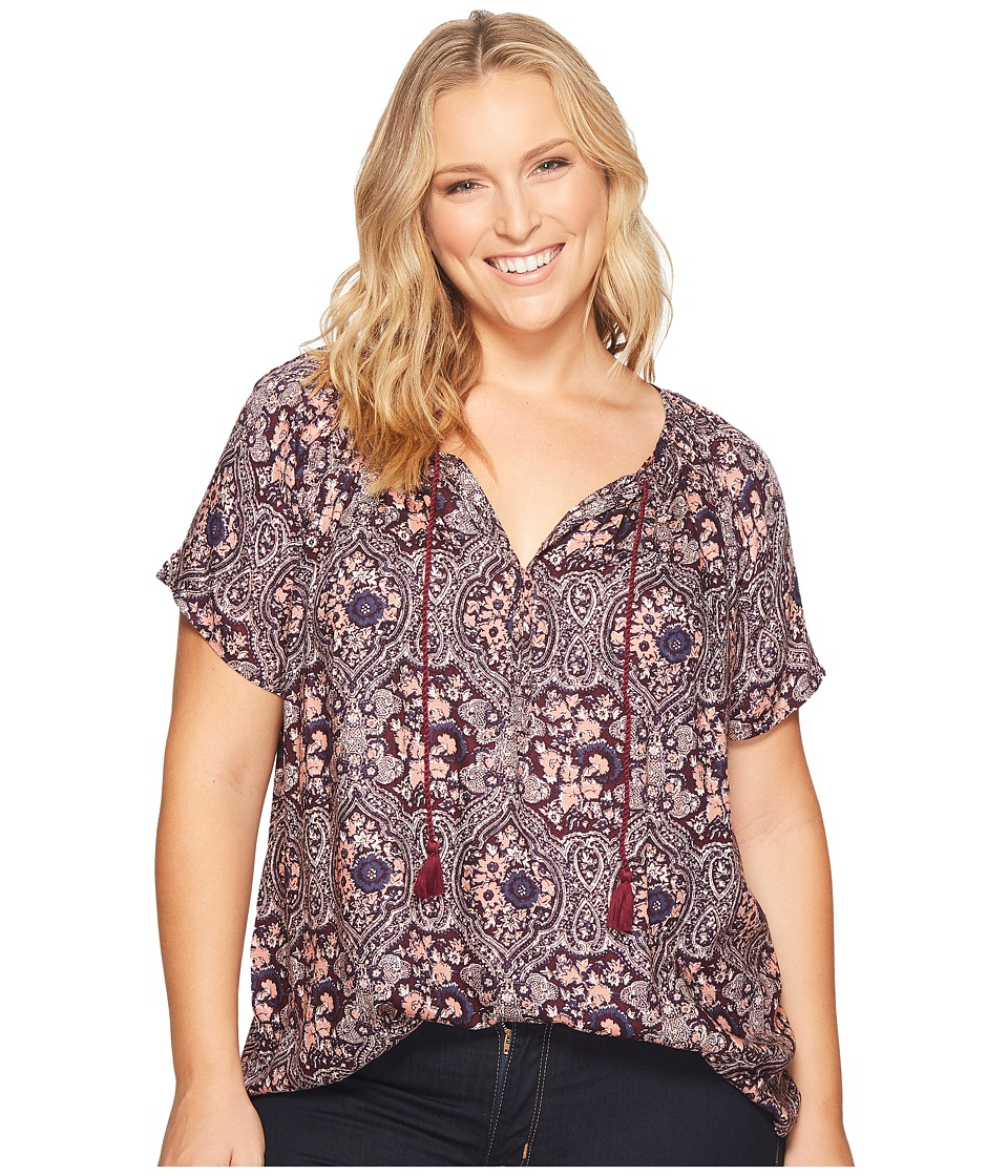 Lucky Brand - Plus Size Short Sleeve Peasant Top (Pink Multi) Women's Short Sleeve Pullover