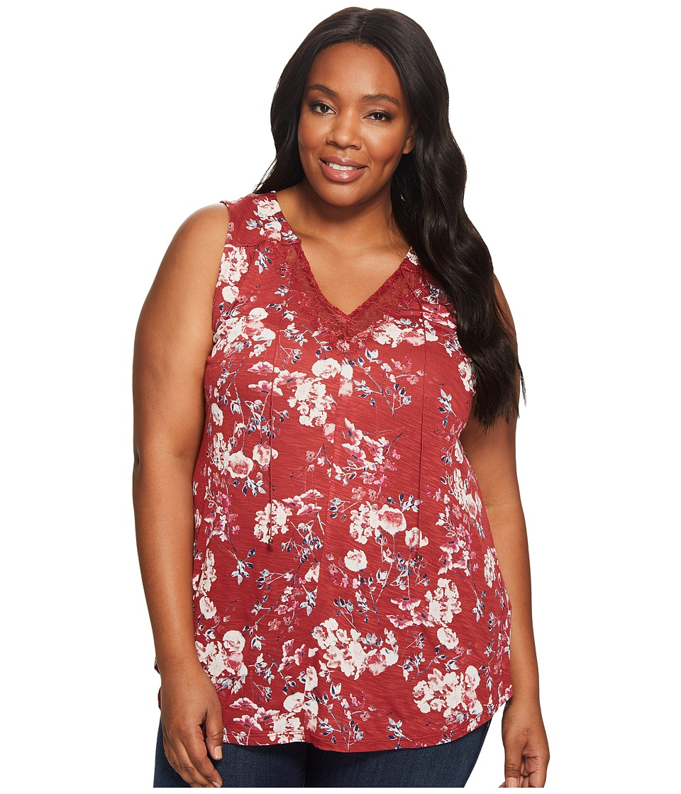 Lucky Brand - Plus Size Wildflower Lace Tank Top (Red Multi) Women's Sleeveless