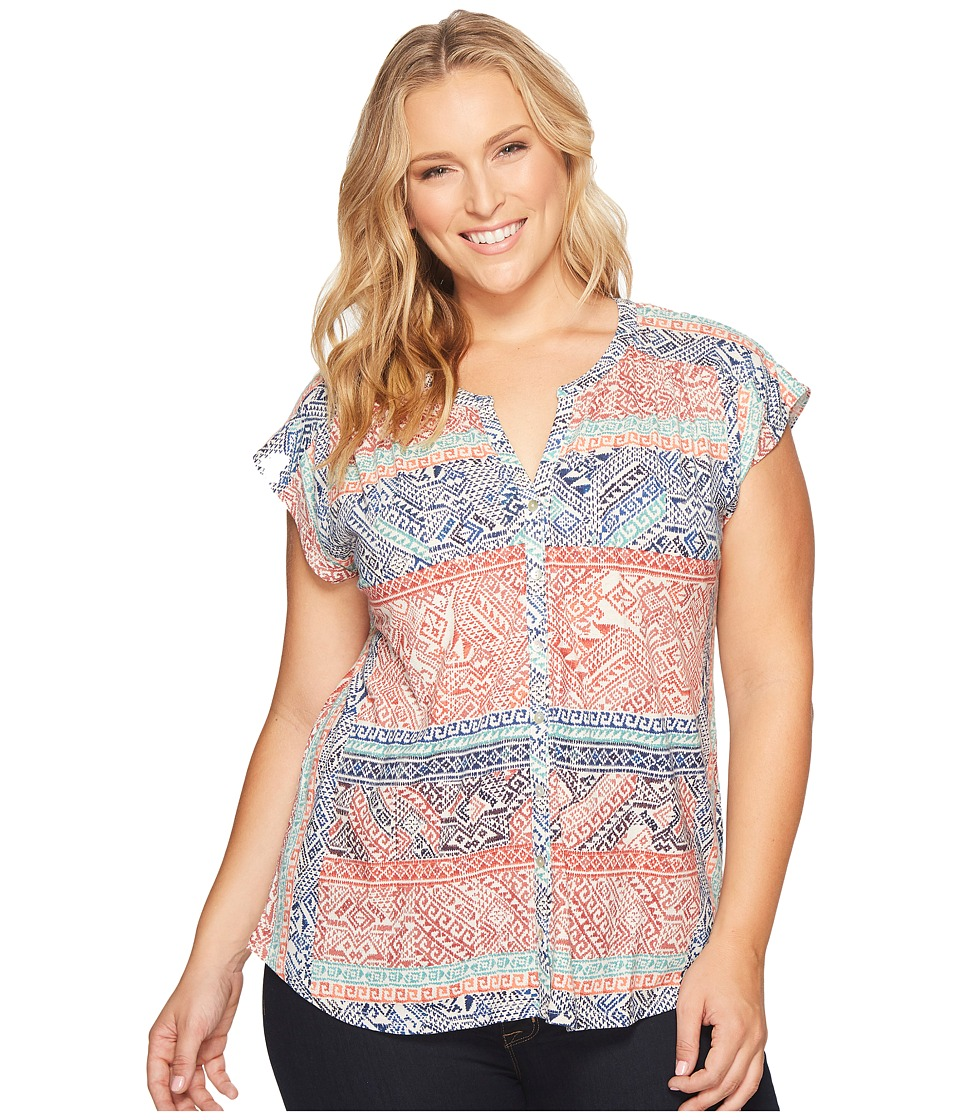 Lucky Brand - Plus Size Rena Border Print Top (Rose Multi) Women's Clothing