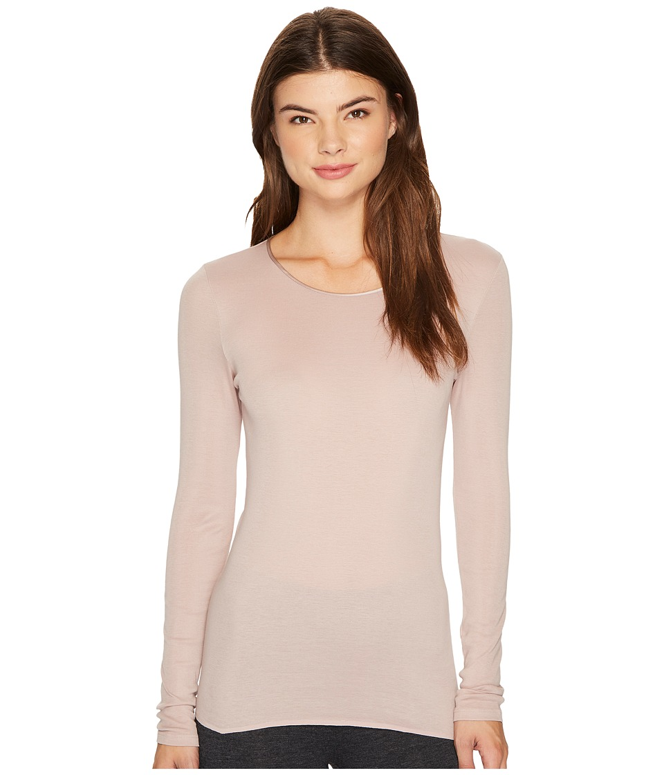 Hanro - Cotton Seamless Long Sleeve Shirt (Oyster) Women's T Shirt