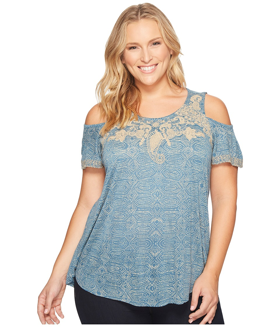 Lucky Brand - Plus Size Embroidered Cold Shoulder Top (Blue Multi) Women's Short Sleeve Pullover