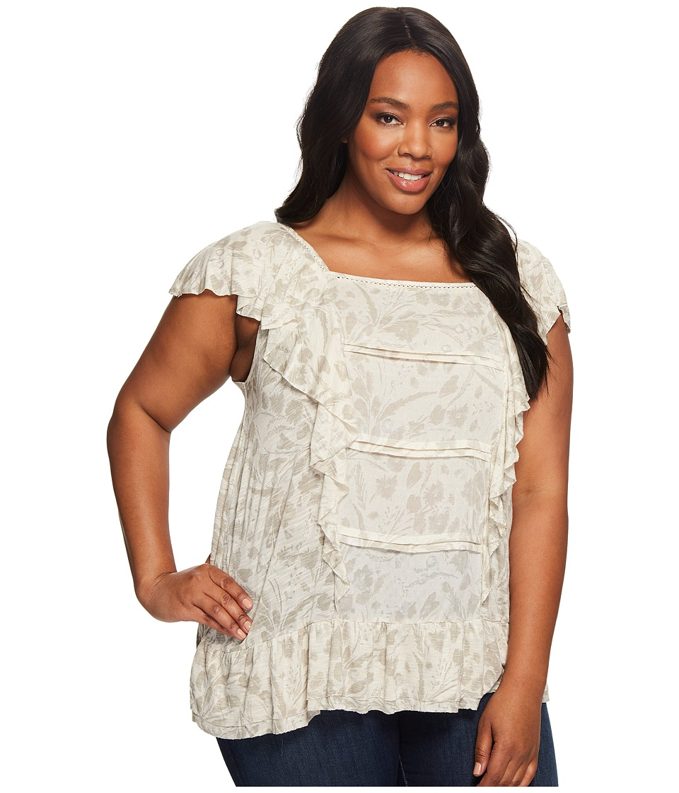 Lucky Brand - Plus Size Woven Mix Ruffle Tank Top (Natural Multi) Women's Short Sleeve Pullover