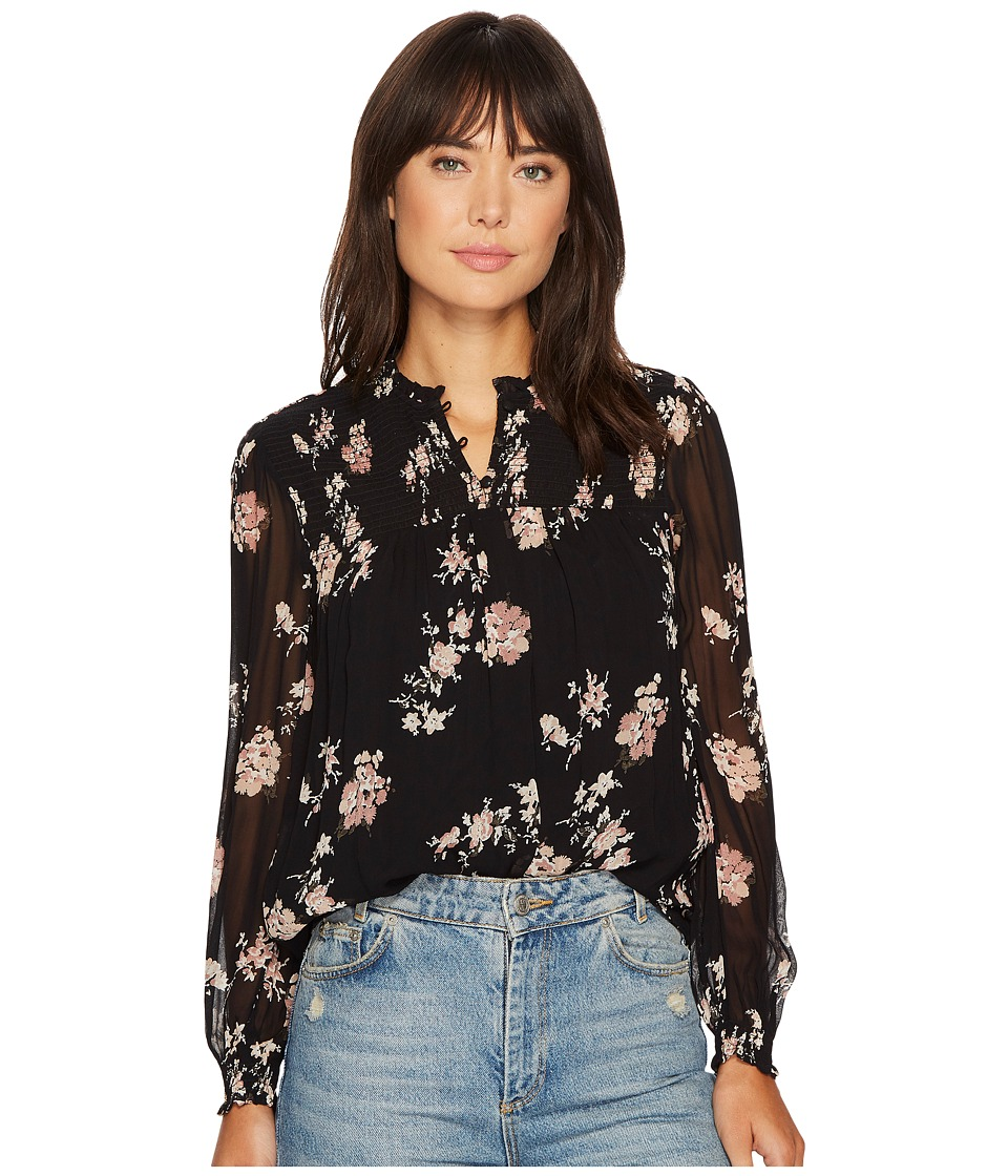 Lucky Brand - Ditsy Mock Neck Top (Black Multi) Women's Clothing