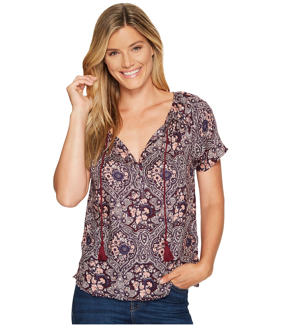 Lucky Brand - Printed Floral Top (Pink Multi) Women's Short Sleeve Pullover