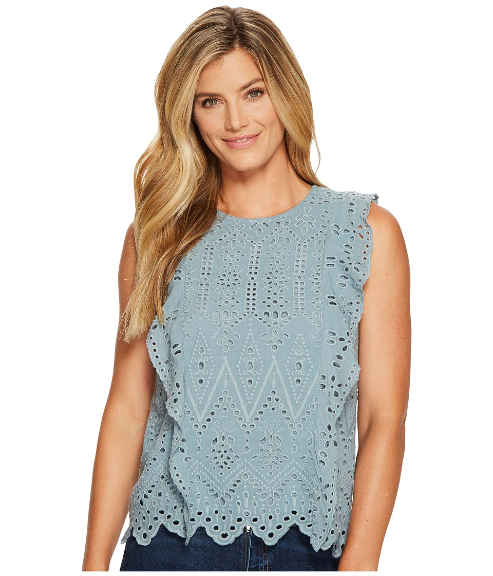 Lucky Brand - Schiffly Top (Dusty Blue) Women's Clothing