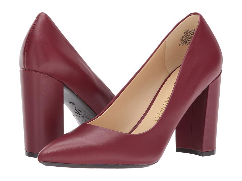 Nine West Astoria Block Heel Pump (Wine Leather) High Heels