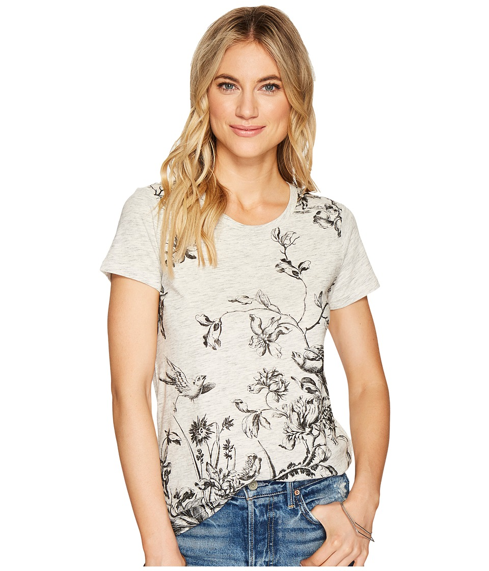 Lucky Brand - Placed Floral Tee (Heather Grey) Women's T Shirt