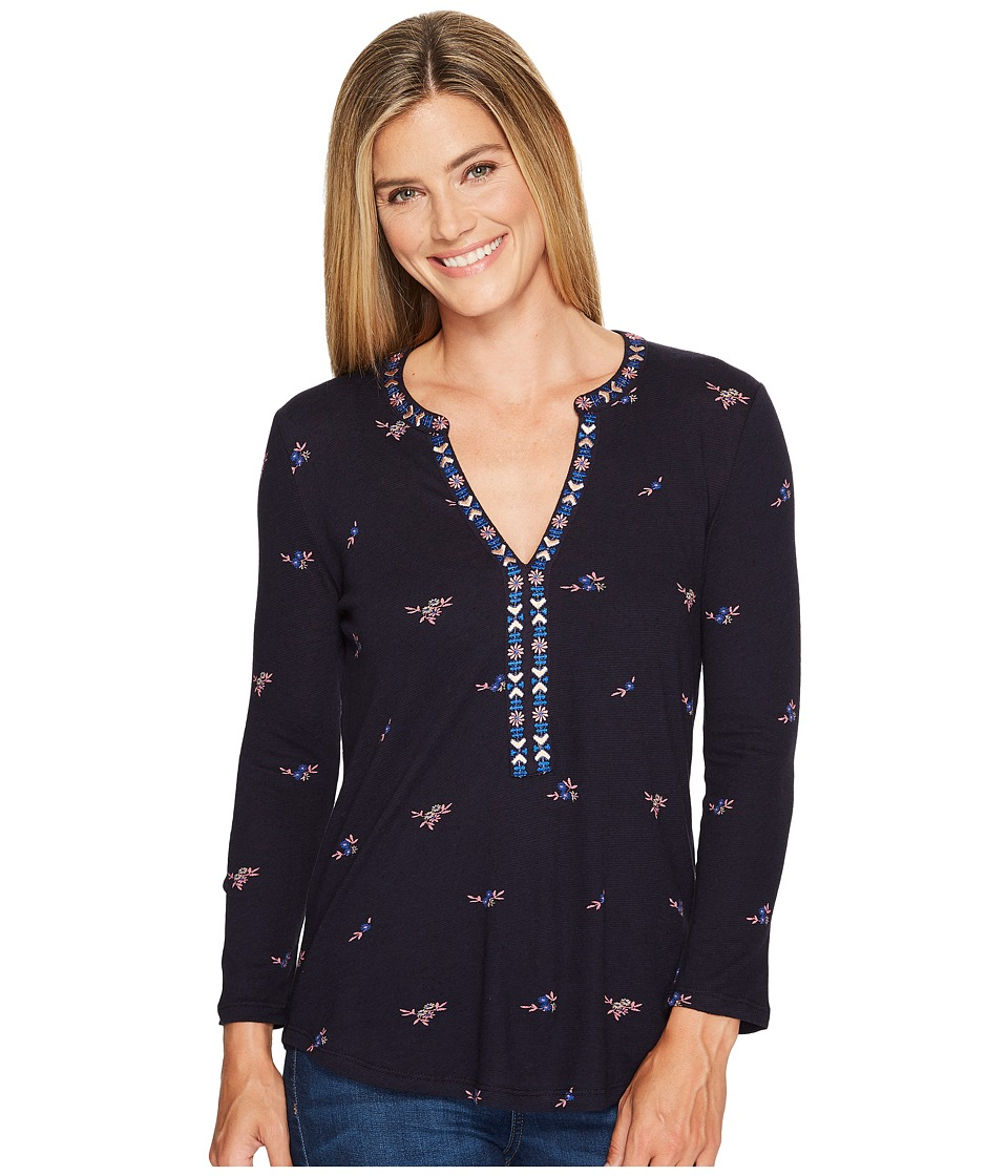 Lucky Brand - Floral Printed Top (Navy Multi) Women's Long Sleeve Pullover