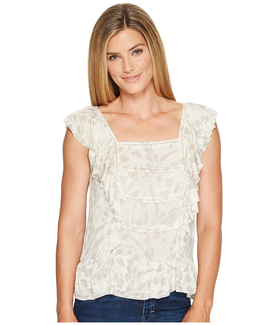 Lucky Brand - Woven Mix Ruffle Tank Top (Natural Multi) Women's Sleeveless