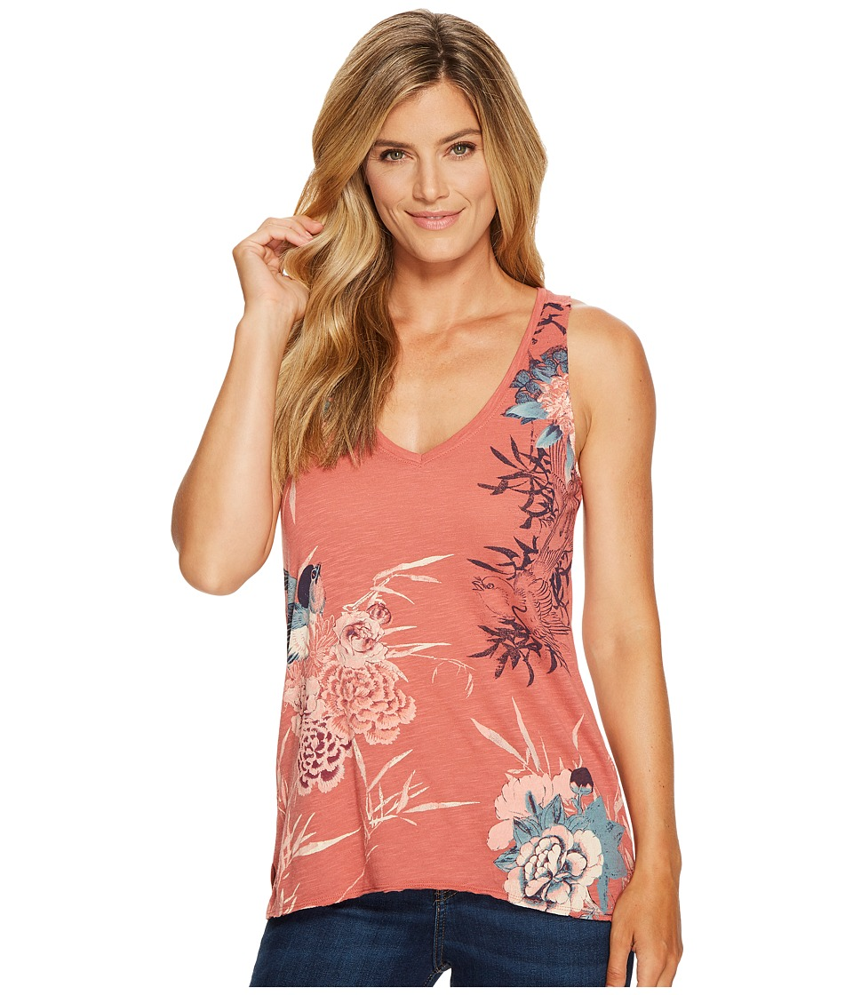 Lucky Brand - Birds Flower Scroll Top (Red Multi) Women's Clothing