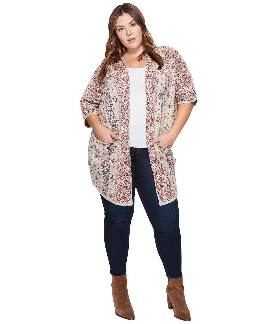Lucky Brand - Plus Size Diamond Pattern Cardigan (Natural Multi) Women's Sweater