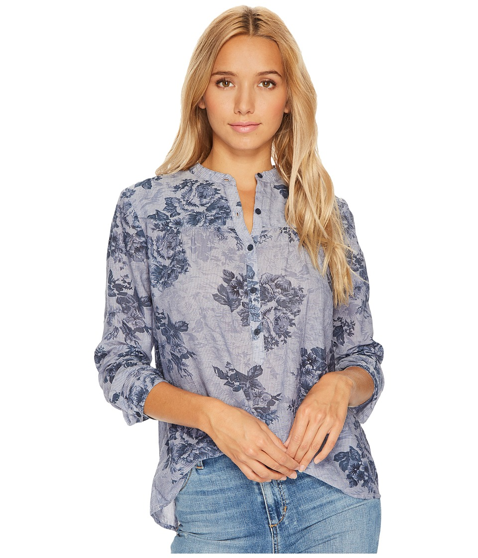 Lucky Brand - Floral Chambray Top (Blue Multi) Women's Long Sleeve Pullover
