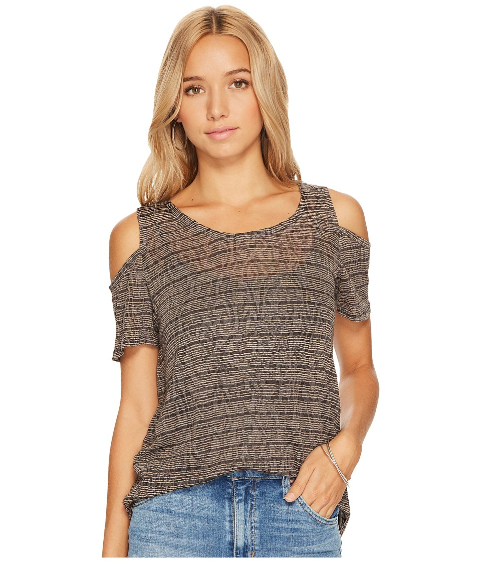 Lucky Brand - Stripe Cold Shoulder Top (Charcoal Stripe) Women's Clothing