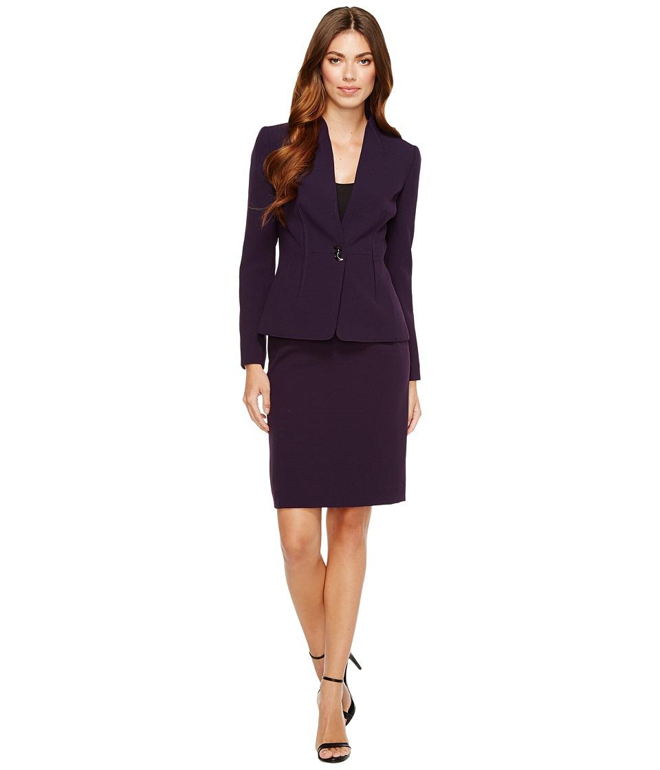 Tahari by ASL - Long Sleeve Collarless Jacket Skirt Suit (Plum) Women's Suits Sets