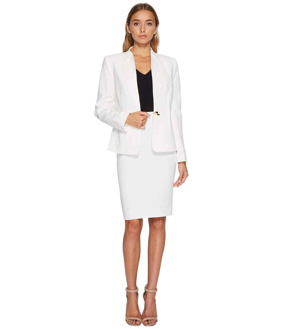 Tahari by ASL - Long Sleeve Collarless Jacket Skirt Suit (Ivory White) Women's Suits Sets