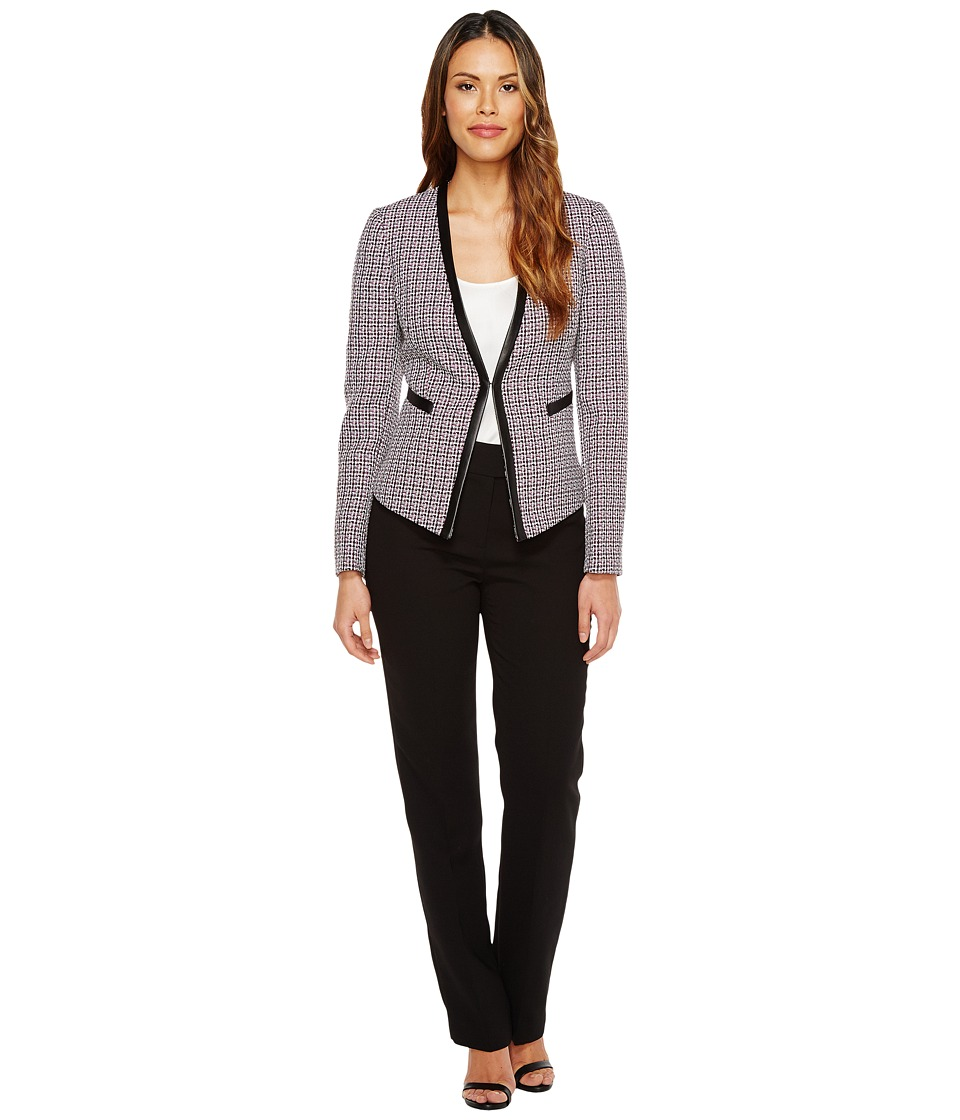 Tahari by ASL - Novelty Long Sleeve Jacket Pant Suit (White/Plum/Black) Women's Suits Sets