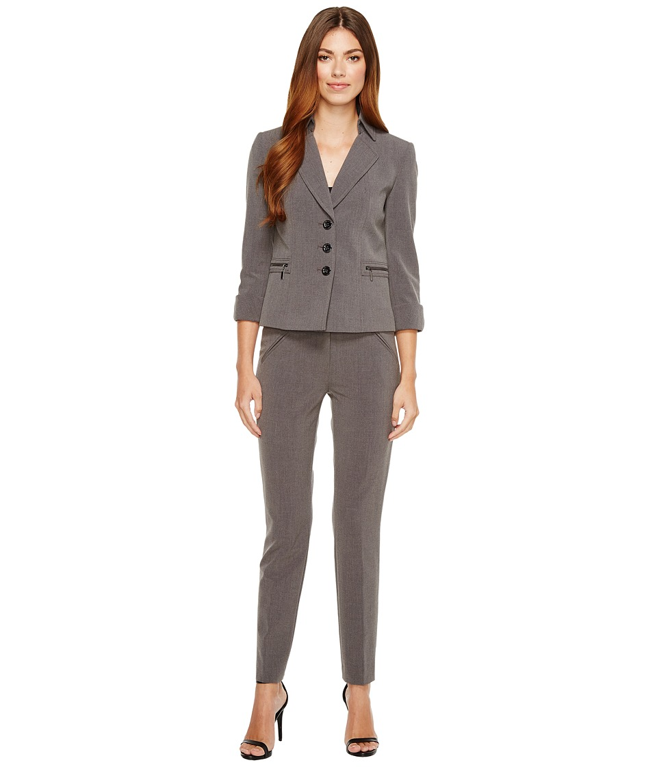 Tahari by ASL - 3/4 Length Sleeve Jacket Pant Suit (Grey) Women's Suits Sets