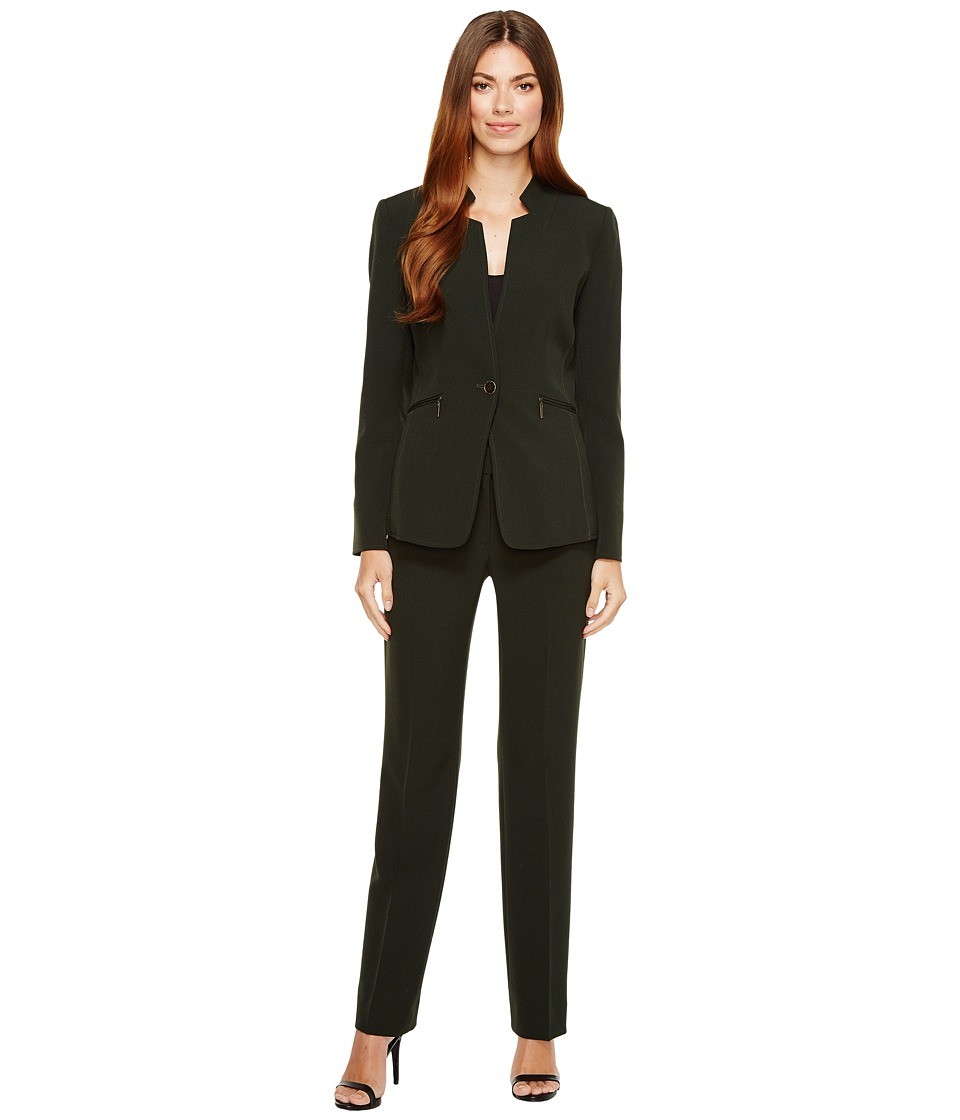 Tahari by ASL - Long Sleeve Jacket Pant Suit w/ Star Neck Detail (Hunter Green) Women's Suits Sets