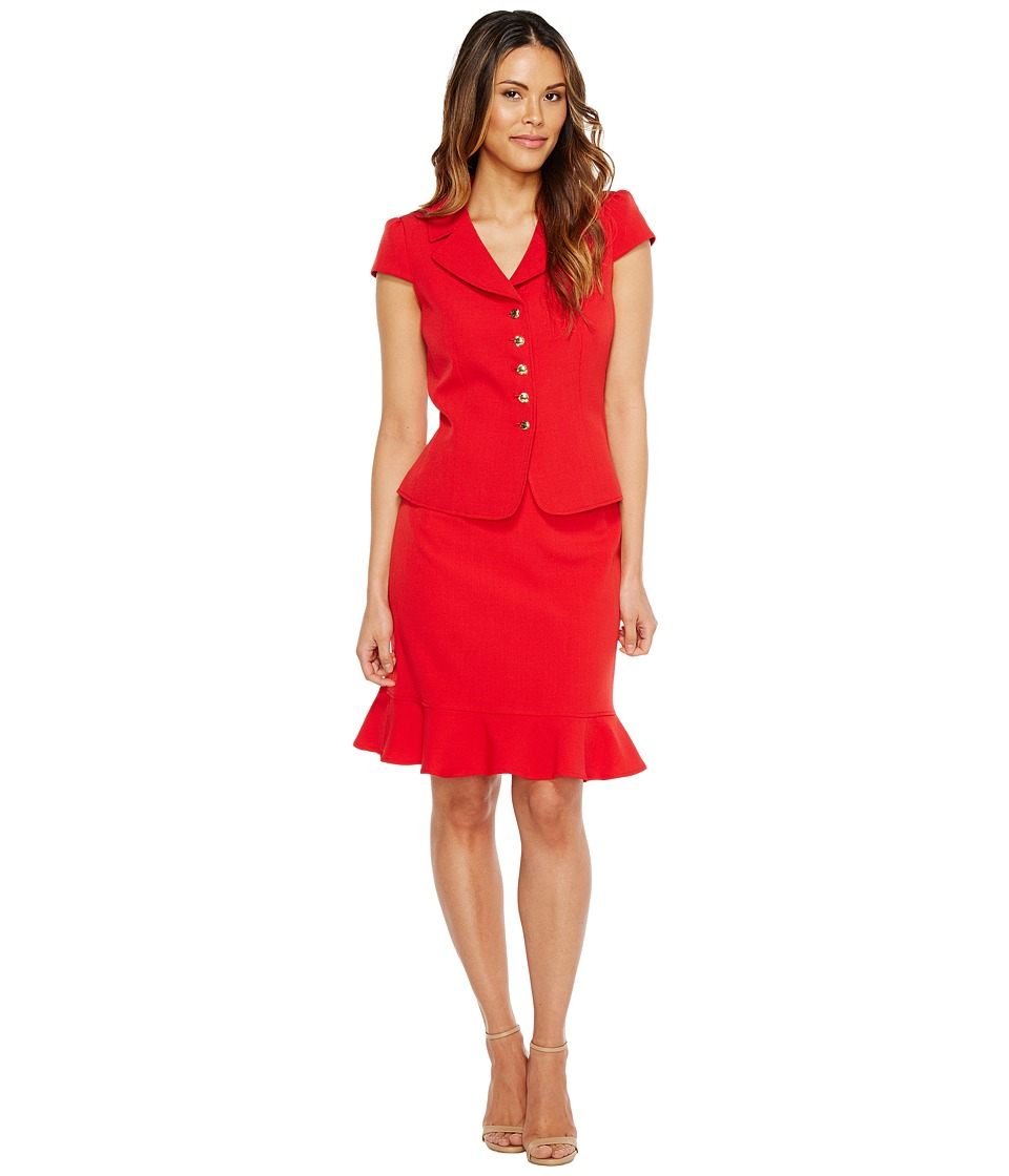 Tahari by ASL - Short Sleeve Skirt Suit w/ Ruffle Bottom Skirt (Red) Women's Suits Sets