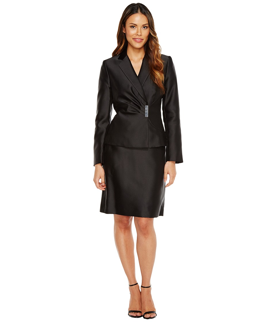 Tahari by ASL - Side Ruched Skirt Suit w/ Decorative Closure (Black) Women's Suits Sets
