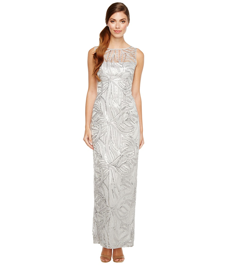 Tahari by ASL - Sequin Embroidered Gown (Silver) Women's Dress