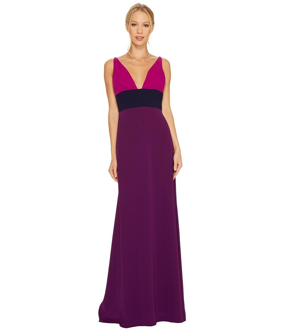 JILL JILL STUART V-Neck Color Block Gown Viola Multi Dress