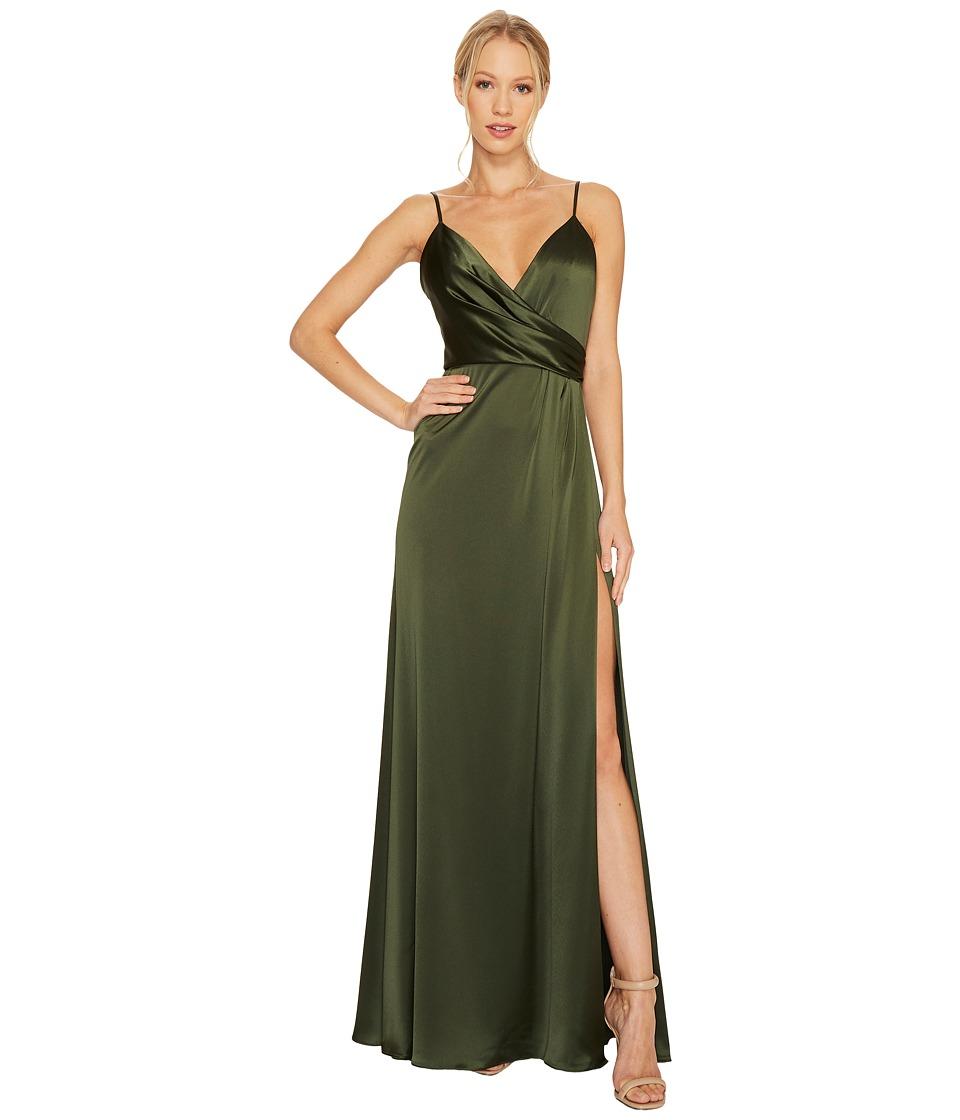 JILL JILL STUART - Satin Back Crepe Slip Dress (Olive) Women's Dress
