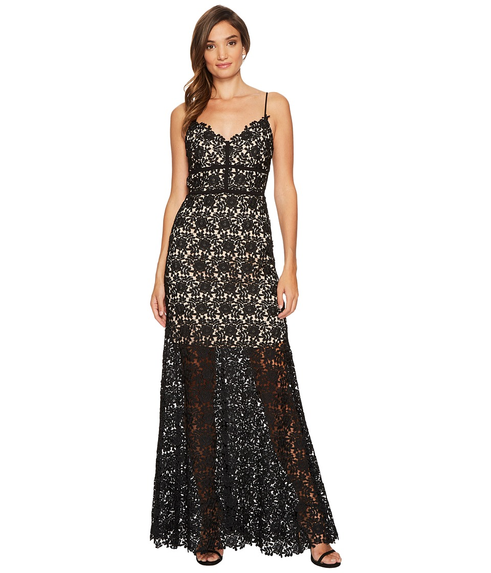 JILL JILL STUART Spaghetti Strap Chemical Lace Gown Black Dress