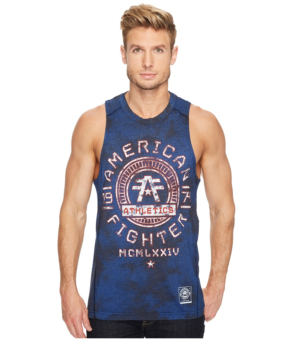 American Fighter - Park Ridge 50/50 Athletic Tank Top (Vintage Blue/Black Crystal Wash) Men's Sleeveless