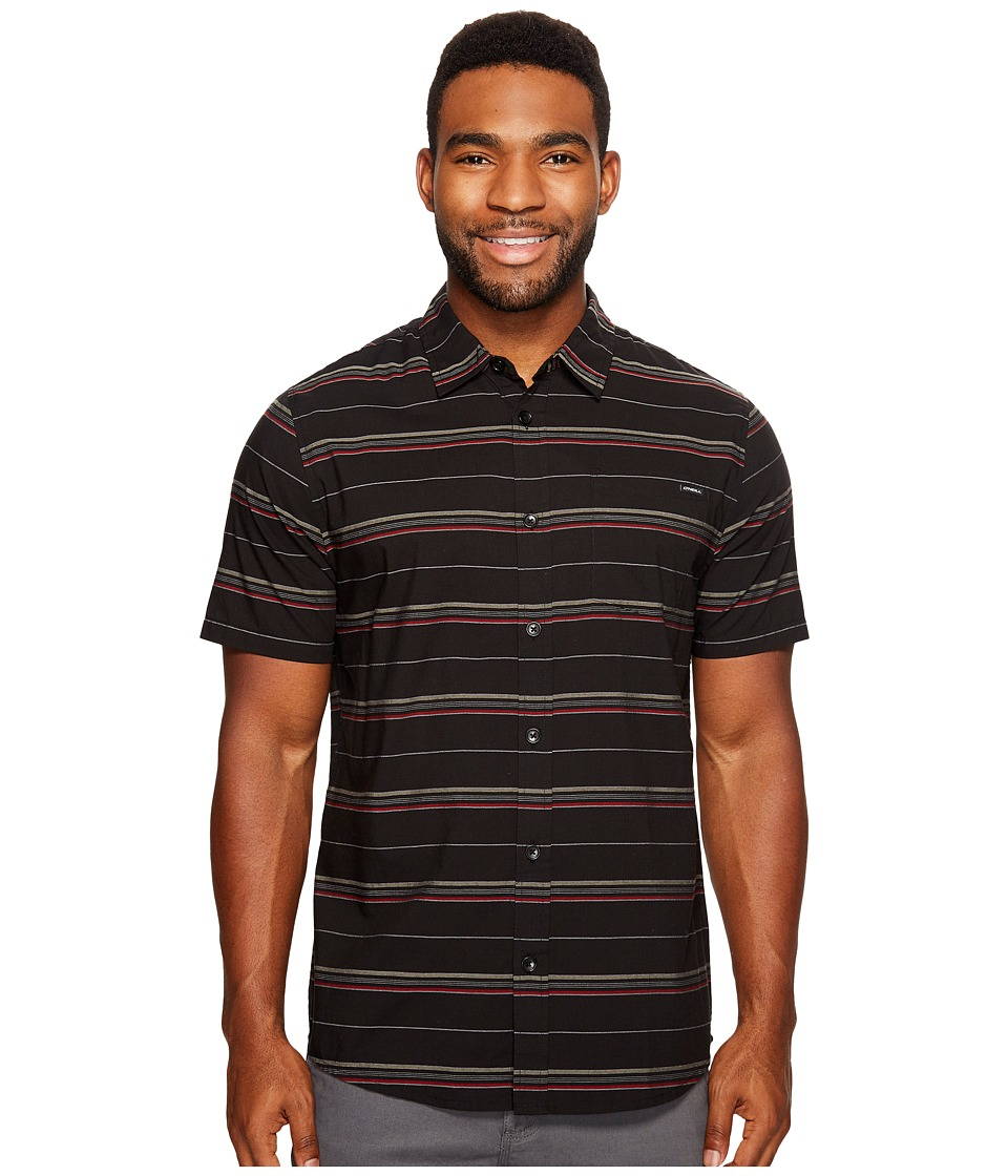 O'Neill - Stripe Short Sleeve Wovens (Black) Men's Short Sleeve Button Up