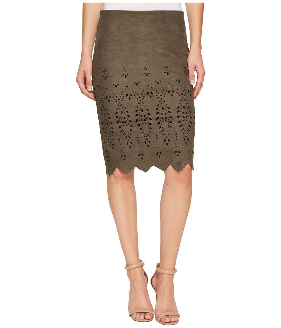 Karen Kane - Laser Cut Faux Suede Skirt (Slate) Women's Skirt