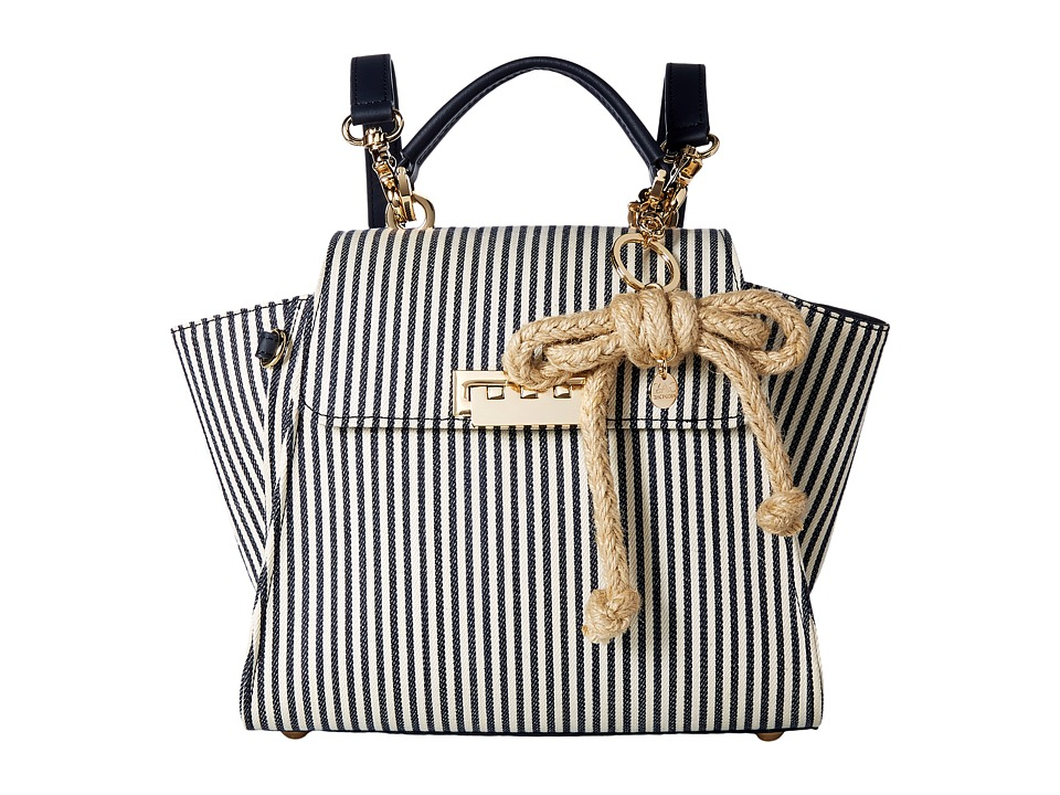 ZAC Zac Posen - Eartha Iconic Convertible Backpack with Striped Canvas (Navy) Backpack Bags