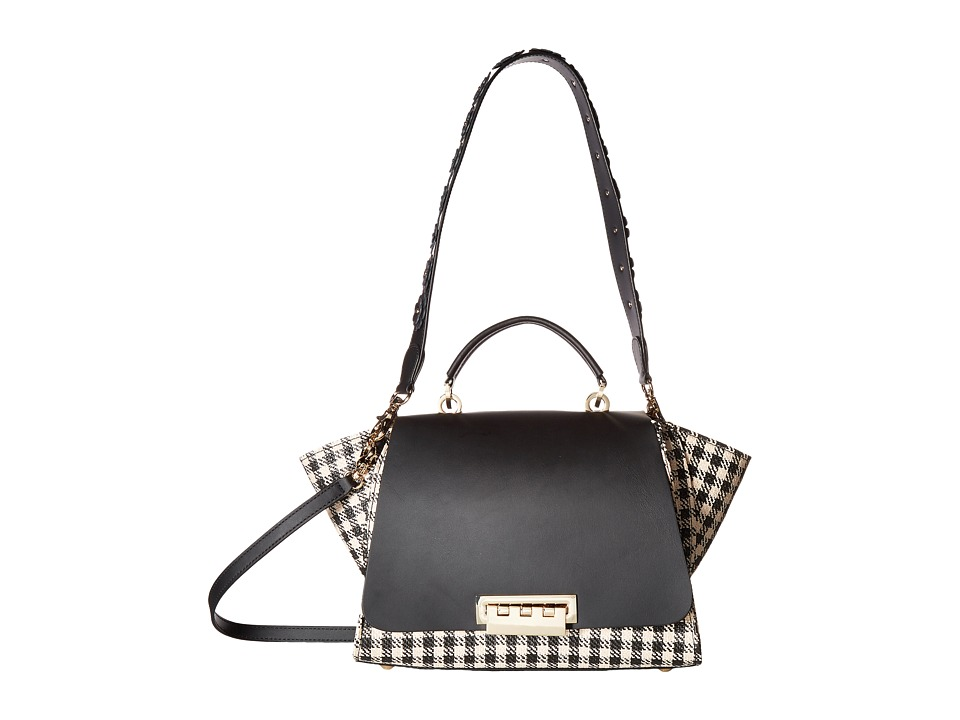 ZAC Zac Posen - Eartha Iconic Soft Top-Handle with Gingham Straw (Black) Handbags