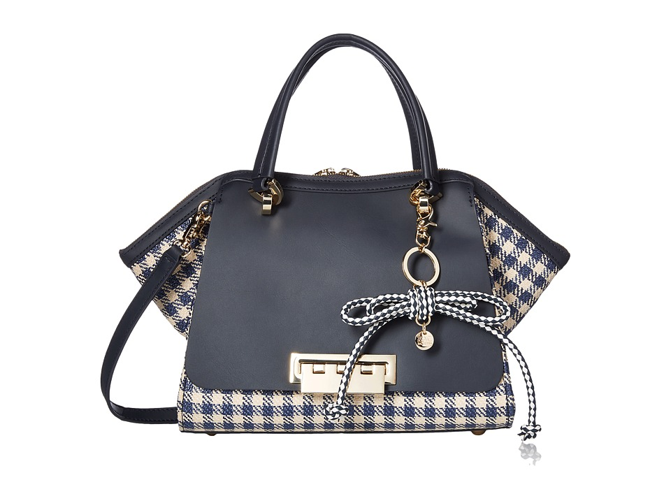 ZAC Zac Posen - Eartha Iconic Small Double Handle with Gingham Straw (Navy) Handbags