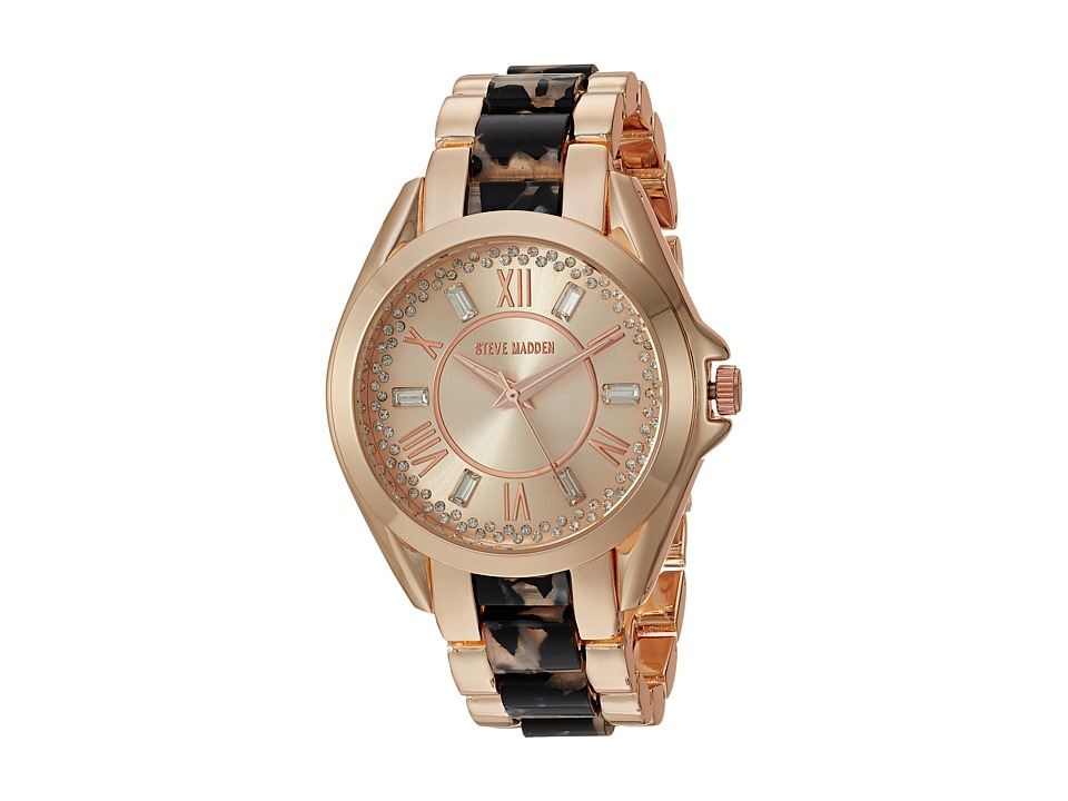 Steve Madden - Roman Numbers Alloy Watch (Rose Gold/Black) Watches