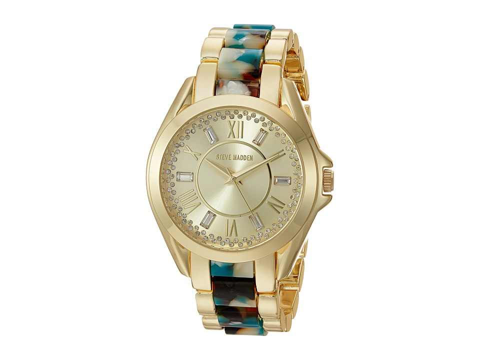 Steve Madden - Roman Numbers Alloy Watch (Gold/Turquoise) Watches