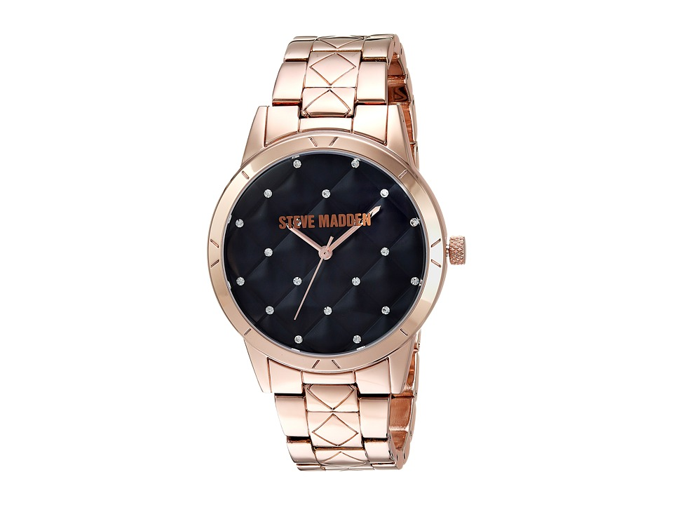 Steve Madden - Quilt Alloy Case Band Watch (Rose Gold) Watches