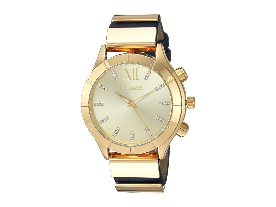 Steve Madden - Leather Band Watch (Gold/Blue) Watches