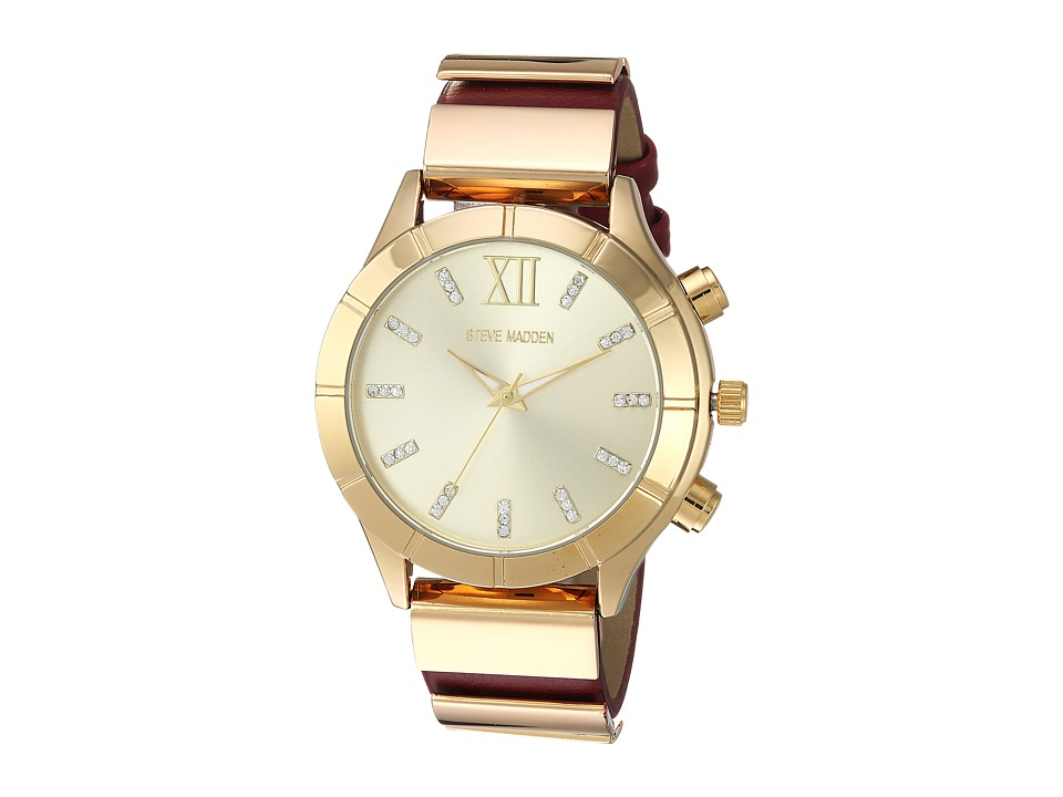 Steve Madden - Leather Band Watch (Gold/Red) Watches